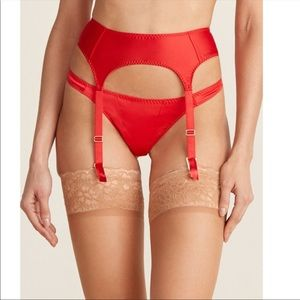 AP L'Agent satin Danita garter belt and thong set